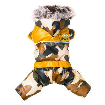 Camouflage Jumpsuit Pet Dog Hoodies Jacket Clothes - BROWN BROWN