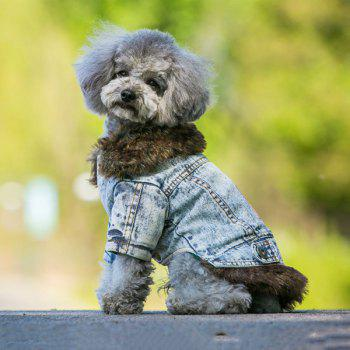 Winter Warm Pet Dog Jeans Jacket Clothes - LIGHT GRAY LIGHT GRAY