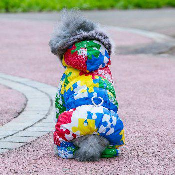 Colorful Warm Pet Dog Hoodies Jacket Clothes - BLUE XS
