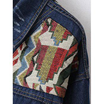 Embroidered Yoke Jeans Jacket - BLUE M