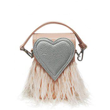 Color Block Heart Pattern Fringe Handbag - PINK PINK