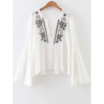 V Neck Bell Sleeve Flowy Top