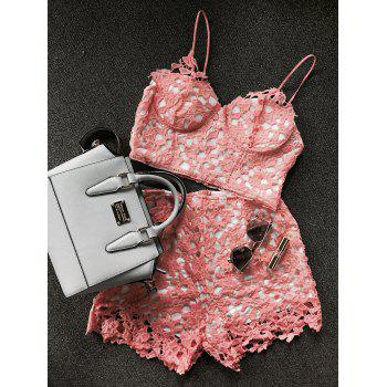 Lace Bustier Crop Top and Shorts - cute summer short set