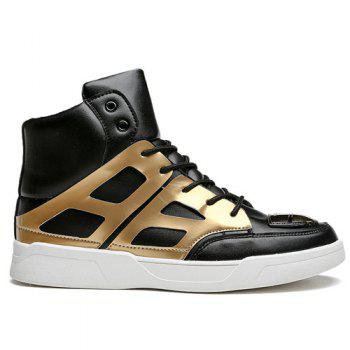 Lace-Up Patent Leather Spliced Boots - GOLDEN GOLDEN
