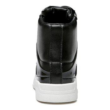 Lace-Up Patent Leather Spliced Boots - BLACK BLACK