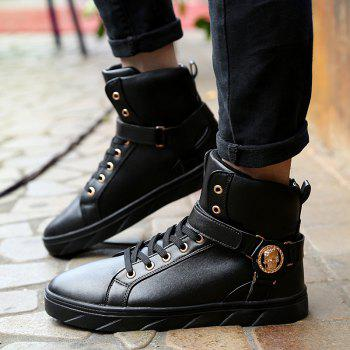 Tie Up Metal Skull Pattern Boots - BLACK BLACK