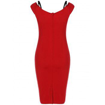 Back Slit High-Waist Pencil Dress - RED L