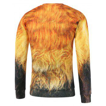 Crew Neck Lion Printed Sweatshirt - YELLOW XL