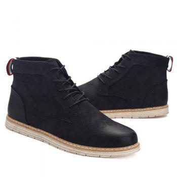 PU Leather Stitching Lace-Up  Ankle Boots - BLACK 42