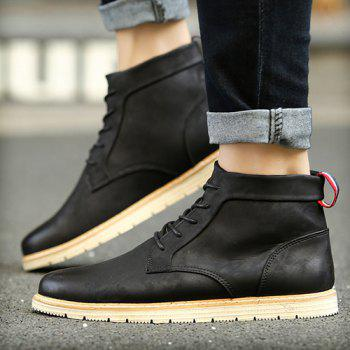 PU Leather Stitching Lace-Up  Ankle Boots - BLACK BLACK