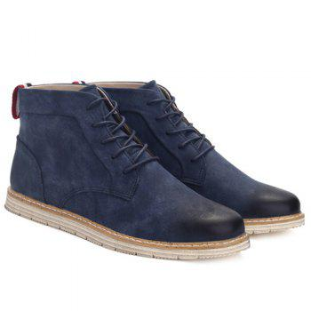 PU Leather Stitching Lace-Up  Ankle Boots - BLUE BLUE