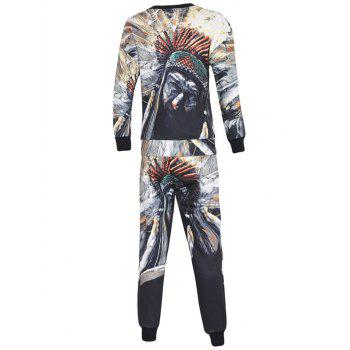 Long Sleeve 3D Chief Figure Pattern Sweatshirt Twinset - COLORMIX 2XL