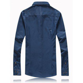 Turn-Down Collar Button Splicing Plus Size Shirt - CADETBLUE L