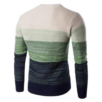 Gradient Color Crew Neck Sweater - GREEN M