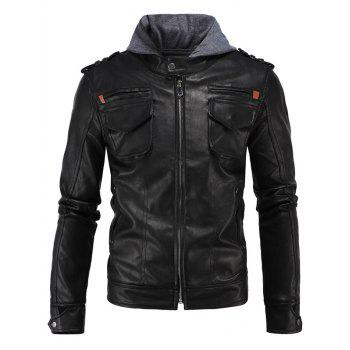 Multi-Pocket PU Hooded Moto Jacket - BLACK XL