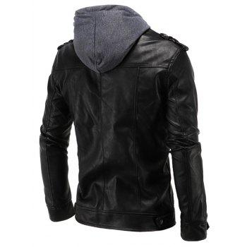 Multi-Pocket PU Hooded Moto Jacket - BLACK 2XL