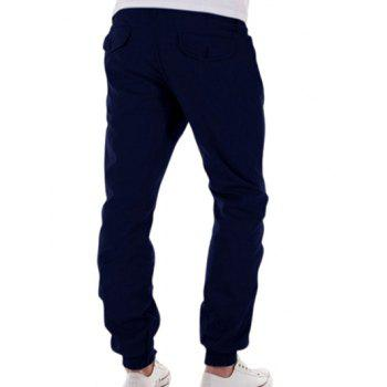 Button Pocket Back Zipper Fly Jogger Pants - CADETBLUE L