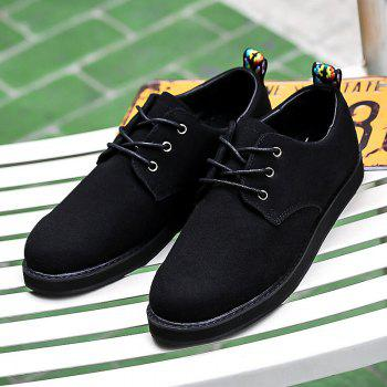 Color Spliced Suede Tie Up Casual Shoes - BLACK 41