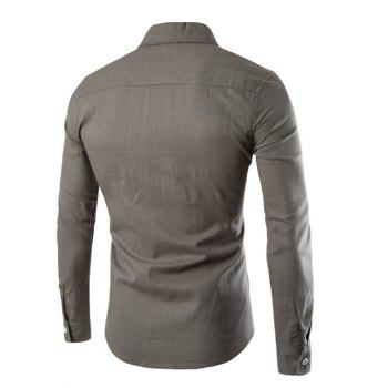 Button Pocket Long Sleeve Slim-Fit Shirt - GRAY XL