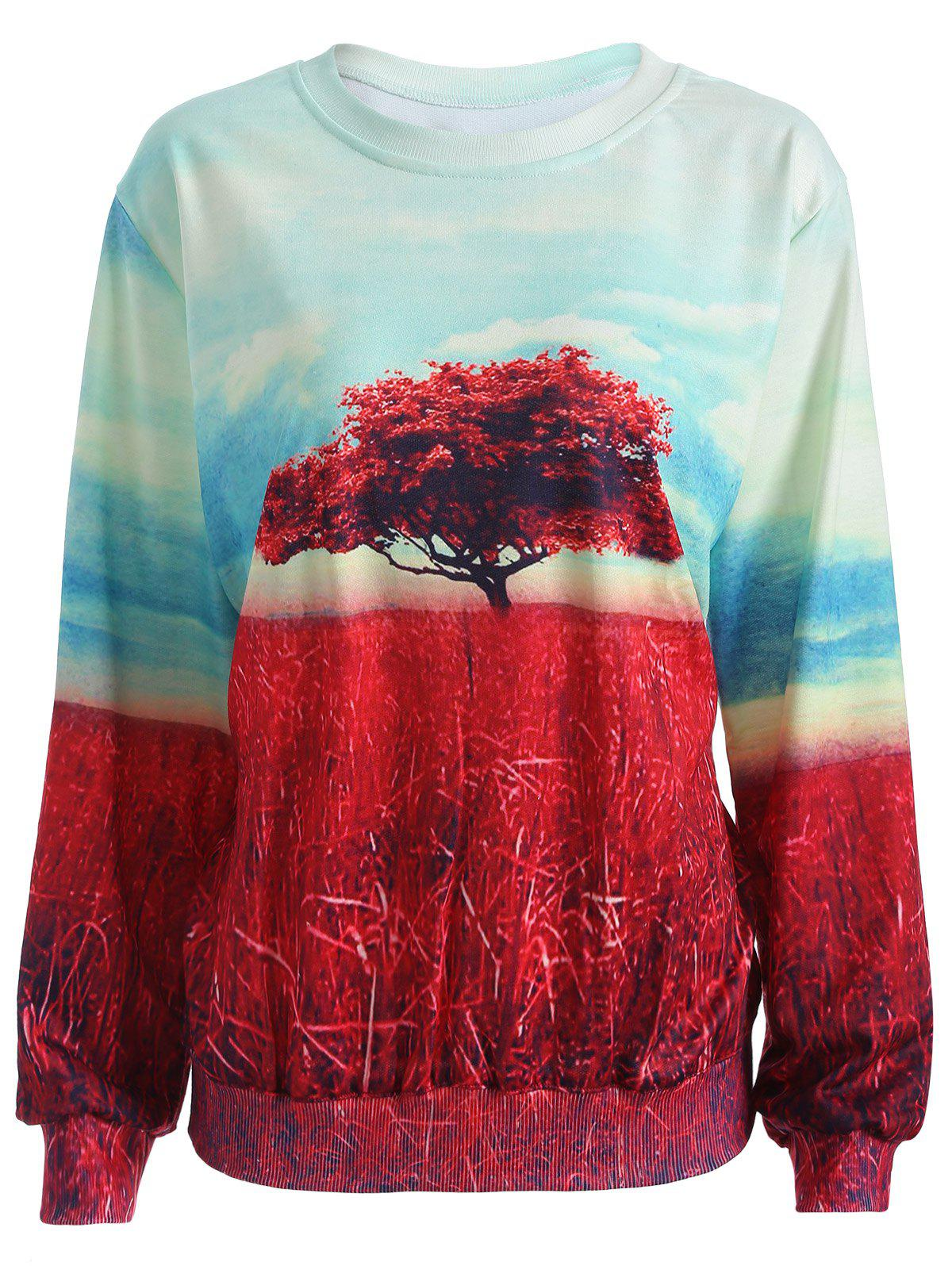 Colorful Tree Print Long Sleeve Sweatshirt - COLORMIX M
