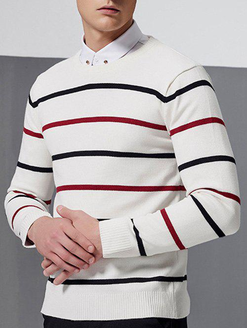 Ribbed Long Sleeve Striped Crew Neck Sweater ribbed raglan sleeve crew neck graphic sweater