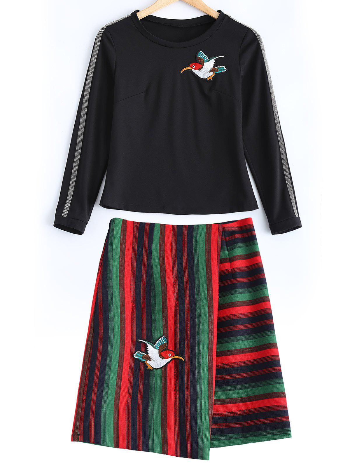 Bird Embroidered T-Shirt + High Waist Striped Skirt Twinset - RED L