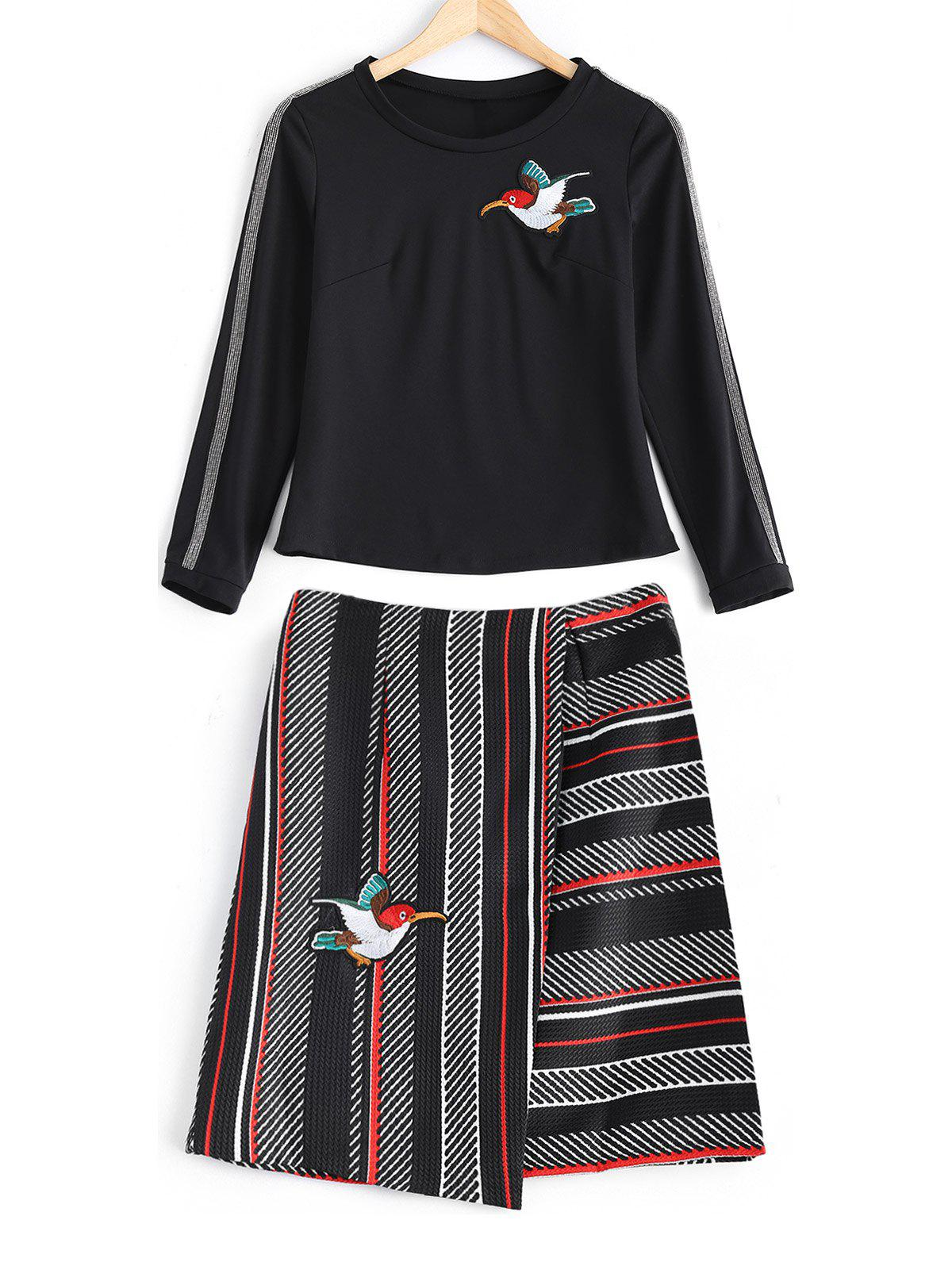 Bird Embroidered Stretchy T-Shirt + Textured Striped Skirt Twinset - BLACK M