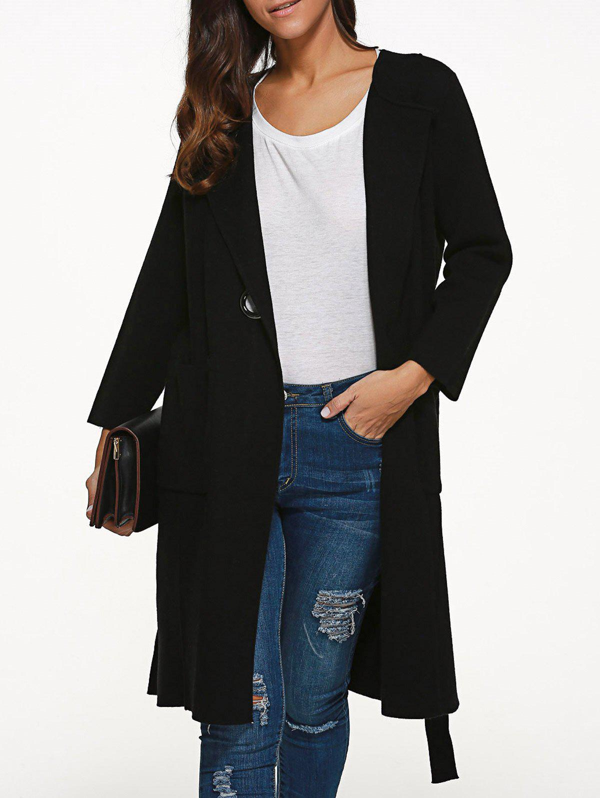 Knee Length Coat with Pockets - BLACK ONE SIZE