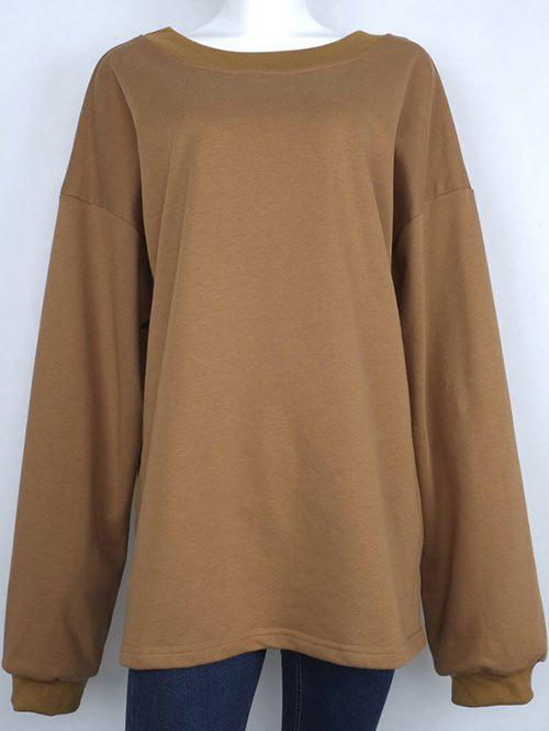 One-Shoulder Loose Sweatshirt - KHAKI M