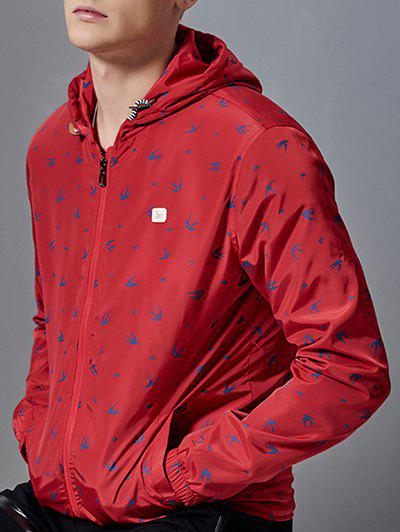All-Over Animal Printed Zip-Up Hooded Jacket