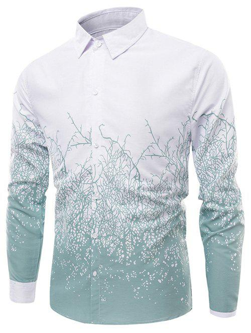 Turn-Down Collar Long Sleeve Timbo Print Shirt - GREEN XL
