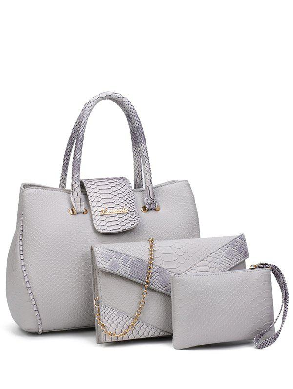 Embossed Metal Color Spliced Tote Bag - LIGHT GRAY