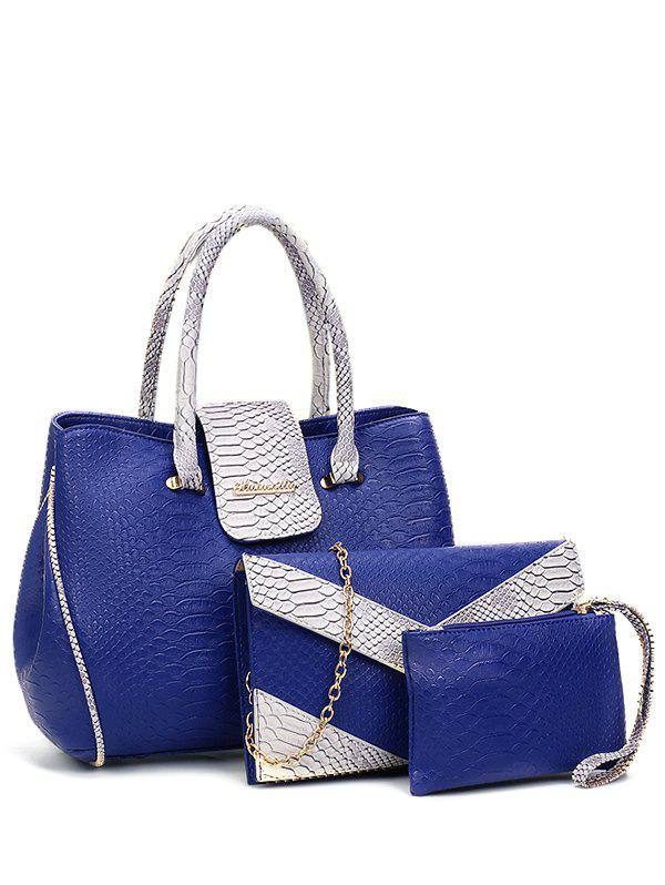 Embossed Metal Color Spliced Tote Bag - BLUE