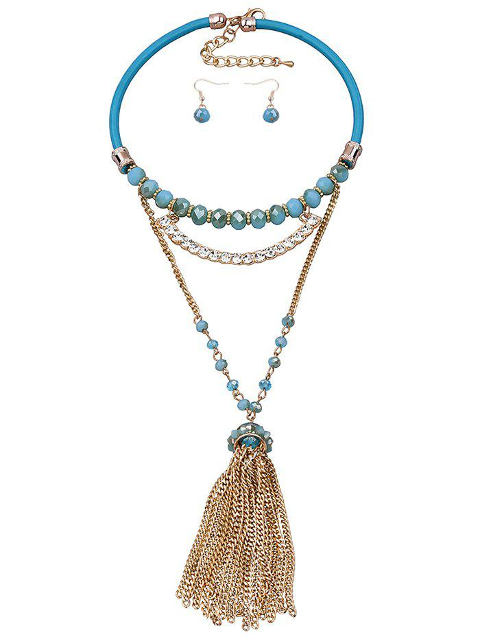 Rhinestone Faux Leather Gold Plated Jewelry Set - BLUE