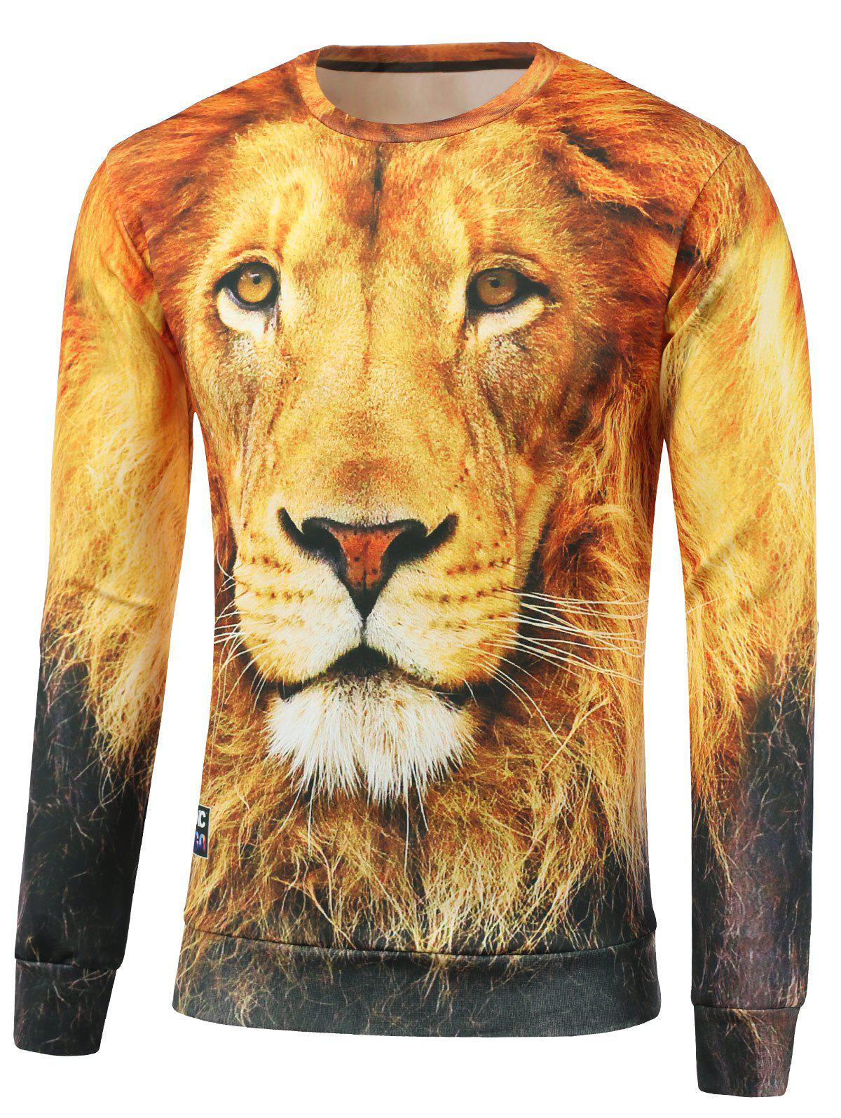 Crew Neck Lion Printed Sweatshirt - YELLOW S