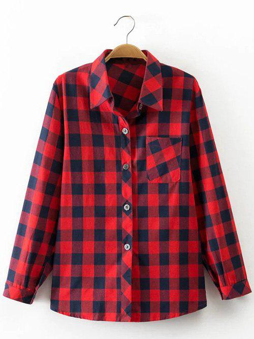 Checkered Print Design Pocket Shirt - Rouge S