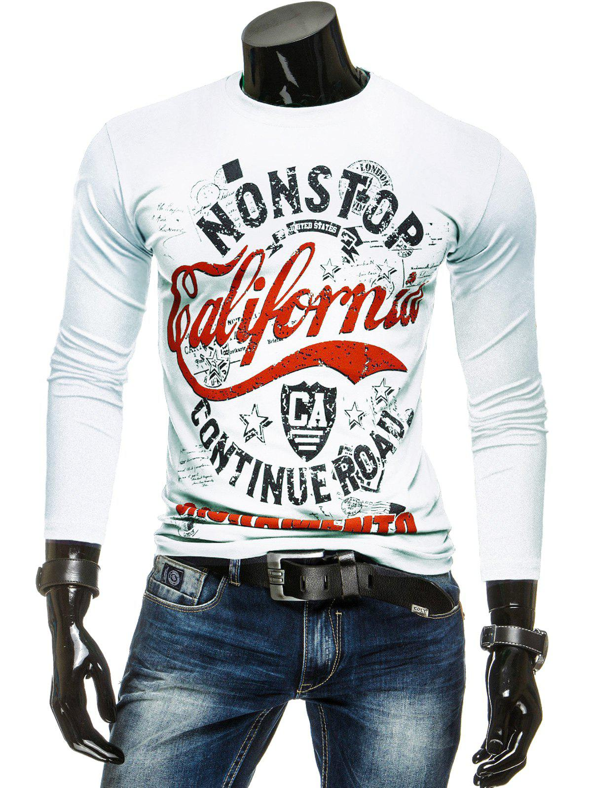 Long Sleeves Letter Printed T-Shirt - WHITE L
