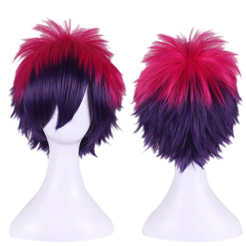Short Anti Alice Hair Side Bang Rose Red Gradient Purple Cosplay Synthetic Wig the red queen cosplay wig alice in wonderland red short curly hair the film and television modelling wig free shipping