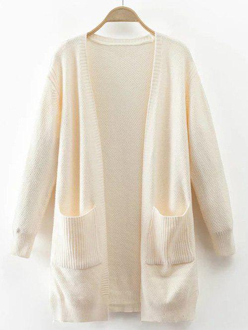 Pocket Design Textured Knitted Cardigan - OFF WHITE ONE SIZE