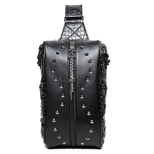 Rivet 3D Dragon Embossed Sac bandoulière - Noir