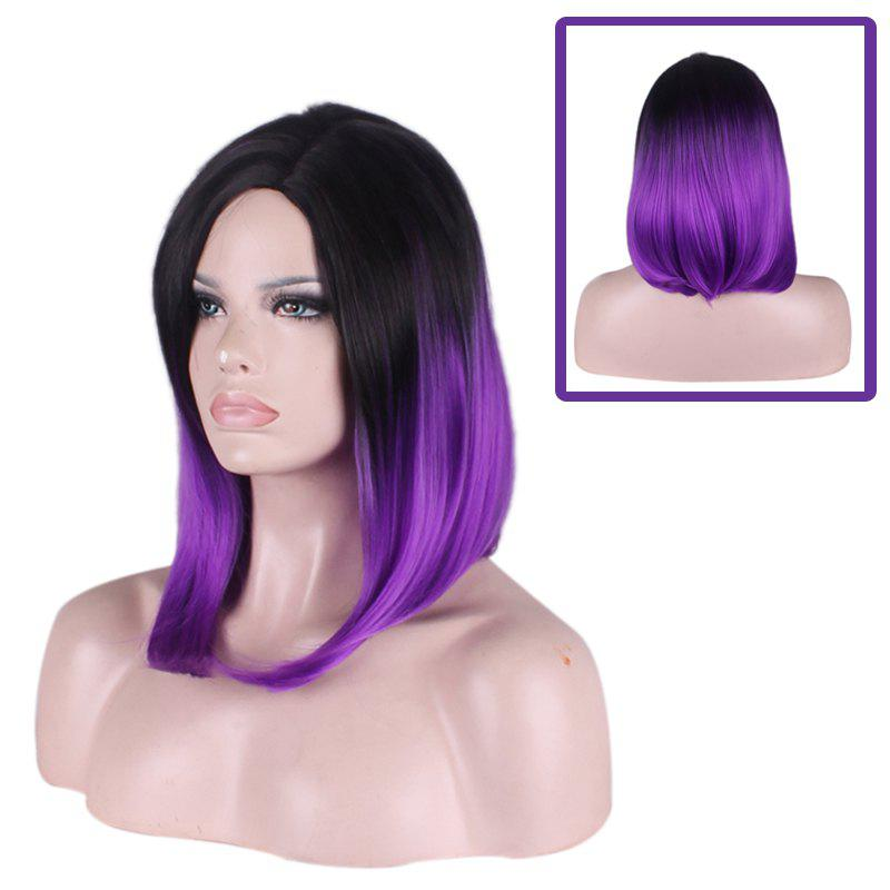 Medium Straight Tail Adduction Side Parting Gradient Color Cosplay Synthetic Wig adiors medium straight side parting tail adduction synthetic wig