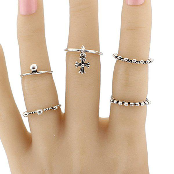 Crucifix Alloy Jewelry Ring SetJewelry<br><br><br>Size: ONE-SIZE<br>Color: SILVER