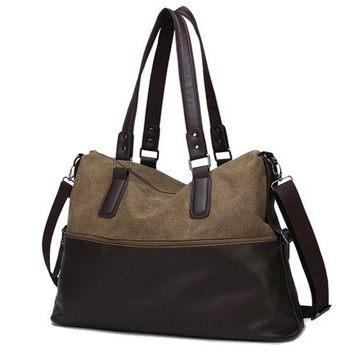 Toile Spliced ​​en cuir PU Color Block Tote - café