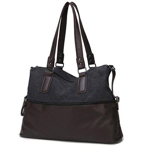 Toile Spliced ​​en cuir PU Color Block Tote - Noir