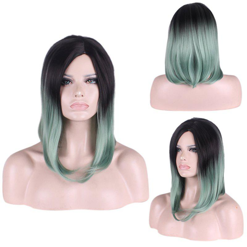 Medium Gradient Color Straight Tail Adduction Side Parting Cosplay Synthetic Wig adiors medium straight side parting tail adduction synthetic wig
