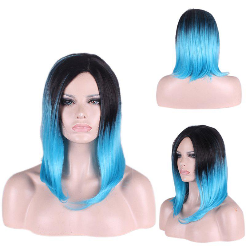 Medium Gradient Straight Tail Adduction Side Parting Cosplay Synthetic Wig adiors medium straight side parting tail adduction synthetic wig