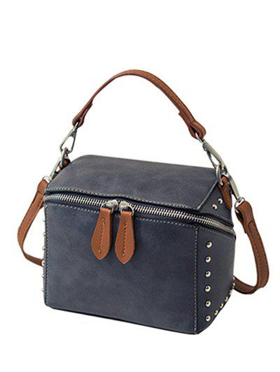 Dome Stud Color Spliced Box Shape Crossbody Bag - DEEP GRAY