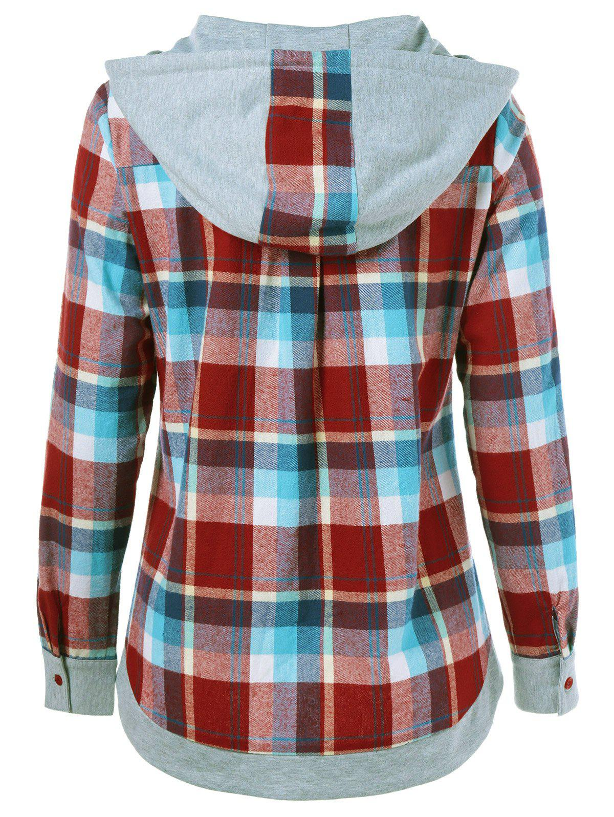 Single Breasted Double Pockets Plaid Hoodie - CHECKED S