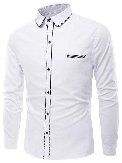 Turn-Down Collar Long Sleeve Stripe Edging Shirt - WHITE M