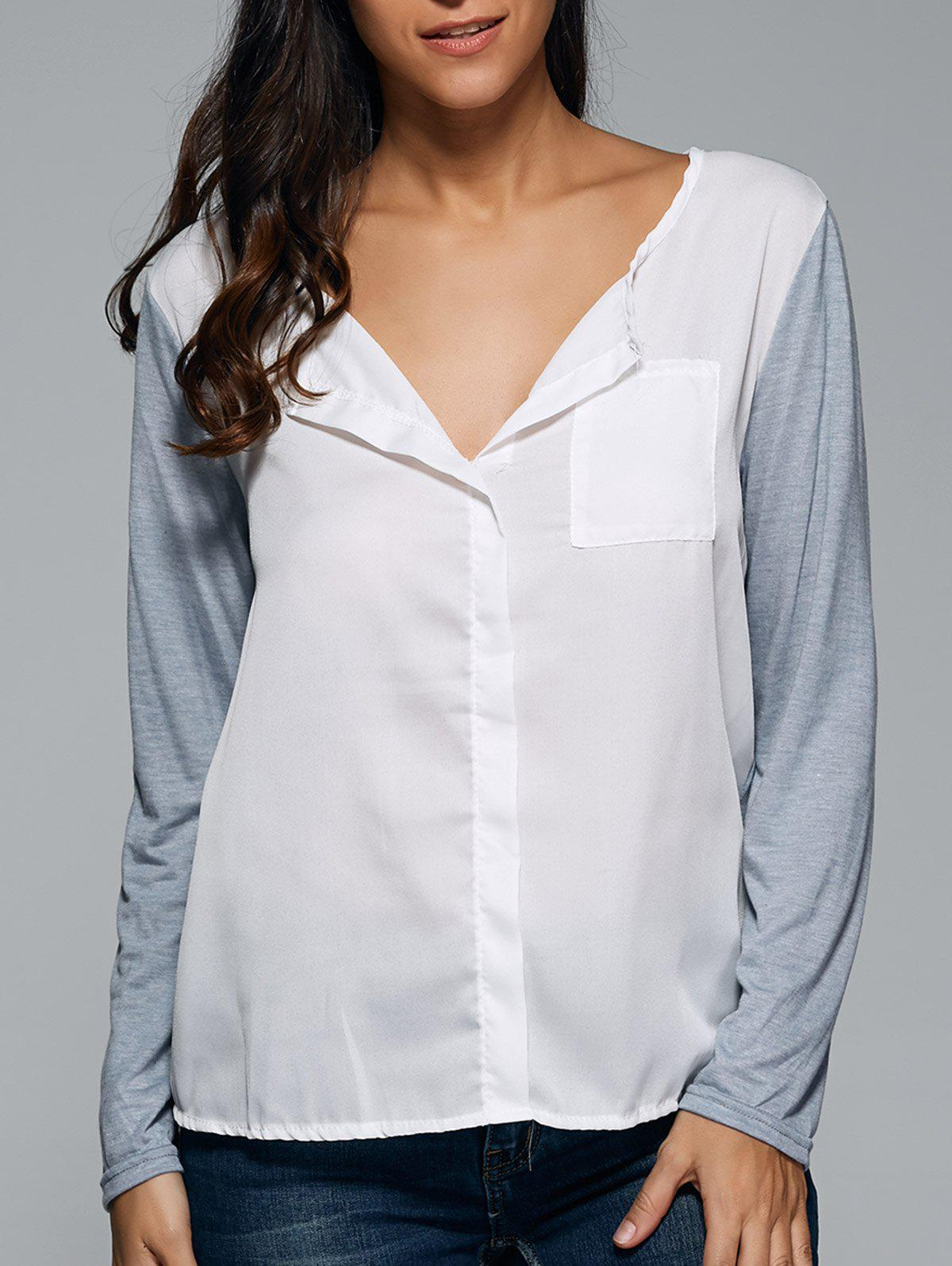 Loose-Fitting Contrast Color BlouseWomen<br><br><br>Size: 5XL<br>Color: WHITE